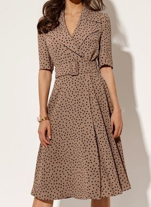 Casual Polka Dot V-Neckline Midi X-line Dress (100002191)