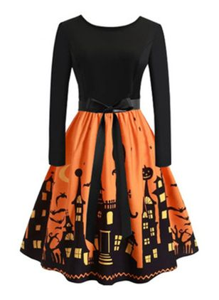 Halloween Color Block Round Neckline Above Knee X-line Dress (109556040)