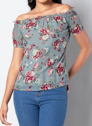 Floral Casual Off the Shoulder Short Sleeve Blouses (146945375)
