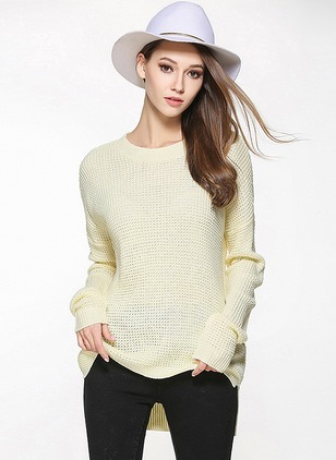 Acrylic Round Neckline Solid Long None Sweaters
