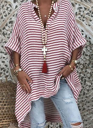 Plus Size Stripe Casual V-Neckline 3/4 Sleeves Blouses (4040715)