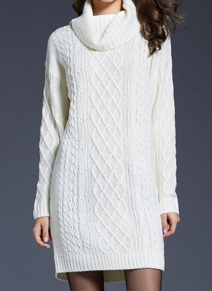 Casual Solid Sweater High Neckline X-line Dress (128229039)