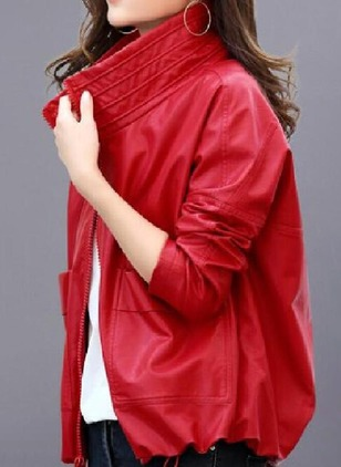 PU Long Sleeve Stand Collar Pockets Jackets Coats