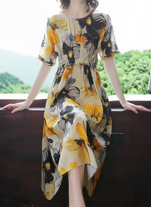 Casual Floral Tunic Round Neckline X-line Dress (105810002)