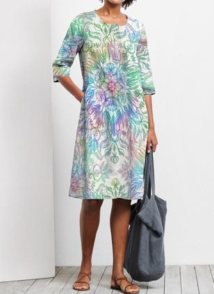 Casual Floral Tunic Round Neckline Shift Dress (101241161)