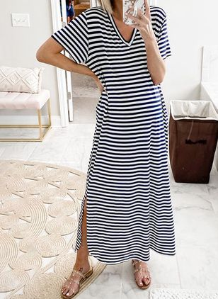 Casual Stripe Tunic V-Neckline A-line Dress (4045338)