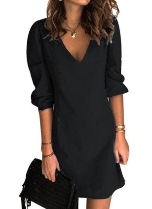 Casual Solid Tunic V-Neckline A-line Dress (146993273)
