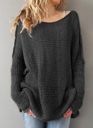 Round Neckline Solid Oversized Loose None Sweaters