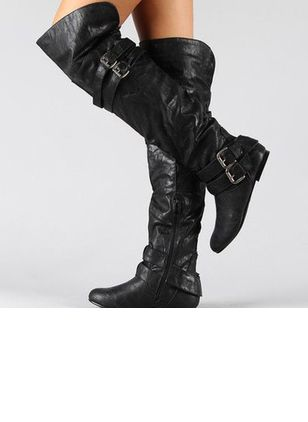 Women's Buckle Zipper Over The Knee Boots Flat Heel Boots