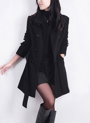 Cotton & Cotton Blend Long Sleeve Lapel Sashes Buttons Pockets Trench Coats