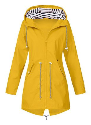 Long Sleeve Hooded Buttons Zipper Pockets Zip Up Coats