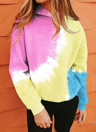 Color Block Alldaglig Hooded Sweatshirtar (101398999)
