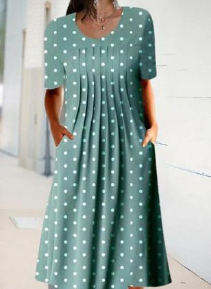 Casual Polka Dot Round Neckline Midi Shift Dress (146913533)