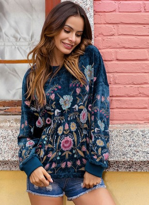 Round Neckline Floral Loose None Sweaters
