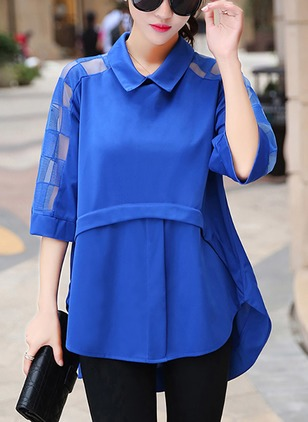 Solid Cotton Collar Half Sleeve Blouses