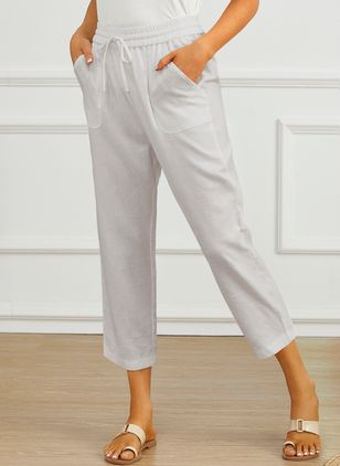 Casual Straight Pockets High Waist Cotton Blends Pants (1609834)