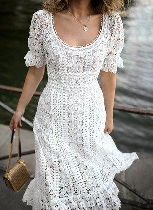 Solid Lace Short Sleeve Midi X-line Dress