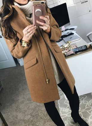 Long Sleeve Lapel Zipper Pockets Coats (107562526)