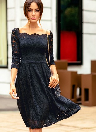 Solid Hollow Out Long Sleeve Knee-Length A-line Dress