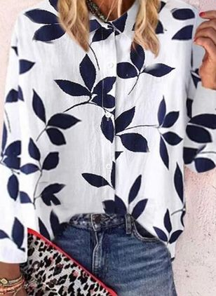 Floral Casual Collar Long Sleeve Blouses (4072097)