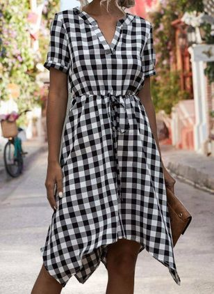 Casual Plaid Skater V-Neckline X-line Dress (4265551)