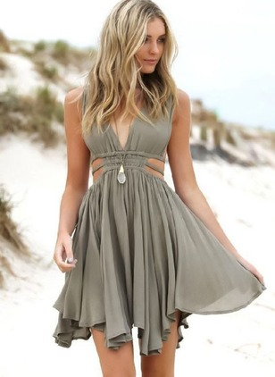 Solid Ruffles Skater Above Knee A-line Dress