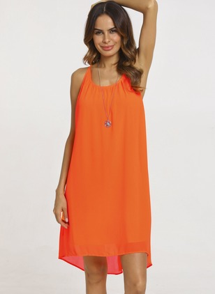 Solid Sleeveless Above Knee A-line Dress