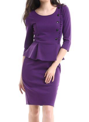 Elegant Solid Buttons Pencil Sheath Dress (1453856)
