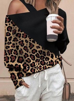 Leopard Casual Oblique Neckline Long Sleeve Blouses (101398996)