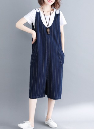 Cotton Stripe Cap Sleeve Backless Jumpsuits & Rompers