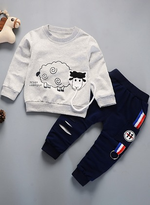 Boys' Casual Print Daily Long Sleeve Clothing Sets