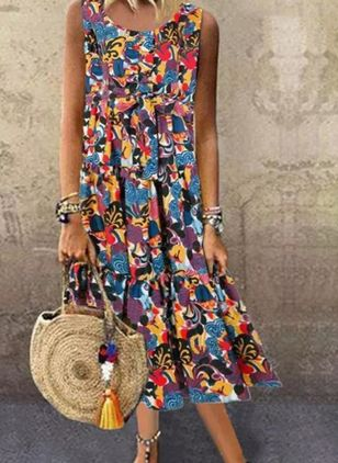 Casual Floral Tunic Round Neckline Shift Dress (4037982)