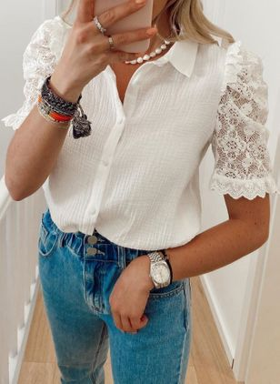 Solid Casual Collar Short Sleeve Blouses (100321340)
