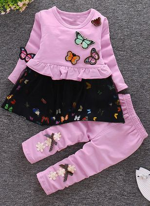 Girls' Cute Animal Daily Long Sleeve Clothing Sets
