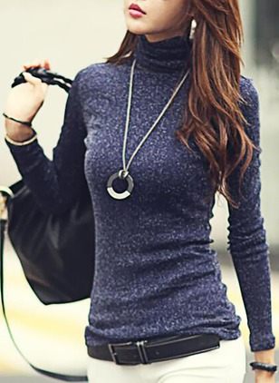 Cotton Solid High Neckline Long Sleeve Sexy T-shirts