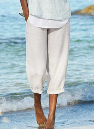 Casual Straight Pockets Mid Waist Polyester Pants (147494343)