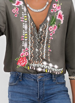 Floral Casual Cotton V-Neckline 3/4 Sleeves Blouses