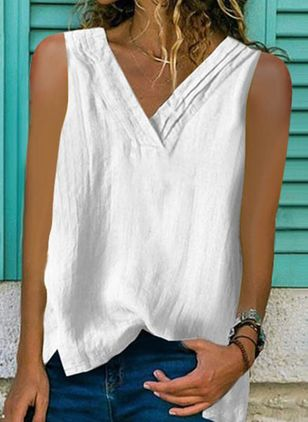 Solid Casual V-Neckline Sleeveless Blouses (4037380)