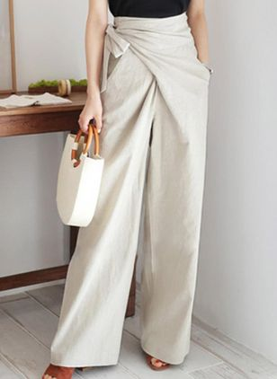 Elegant Straight Pockets Cotton Blends Pants (1479835)
