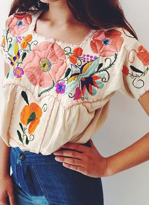 Floral Cotton Square Neckline Short Sleeve Blouses
