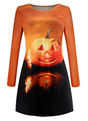 Halloween Color Block Skater Round Neckline X-line Dress (109554408)
