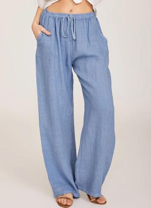 Casual Straight Pockets High Waist Cotton Blends Pants (147009429)