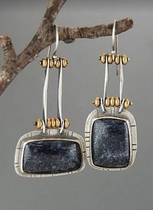 Casual Geometric Gemstone Dangle Earrings (1478234)