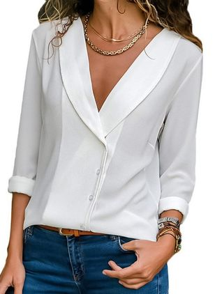 Solid Casual V-Neckline Long Sleeve Blouses (1277569)