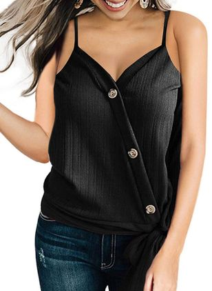 Solid Summer Camisole Neckline Sleeveless Blouses (147202349)