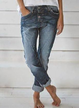 Casual Straight High Waist Denim Jeans (5610211)