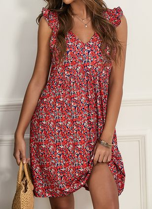 Casual Floral Tunic Camisole Neckline A-line Dress (4073427)