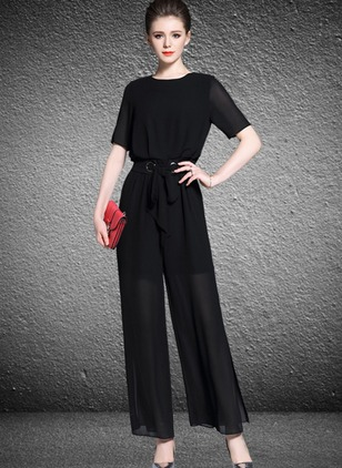 Chiffon Solid Short Sleeve Casual Jumpsuits & Rompers