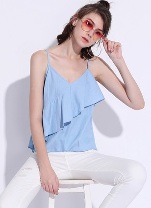 Polyester Solid Halter Neckline Sleeveless Casual T-shirts