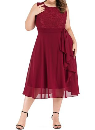 Plus Size Casual Solid Round Neckline Midi X-line Dress (1395017)